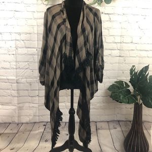 Knox Rose open front plaid cardigan with fringe